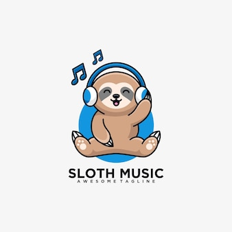 Sloth music cartoon logo design illustration flat color