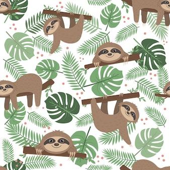 Ленивец узор на фоне тропических листьев на белом фоне, цветные векторные иллюстрации, текстиль, печать, обои