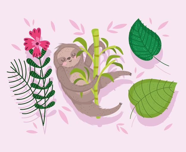 Ленивец отдыхает на ветке дерева цветок листья природа мультфильм