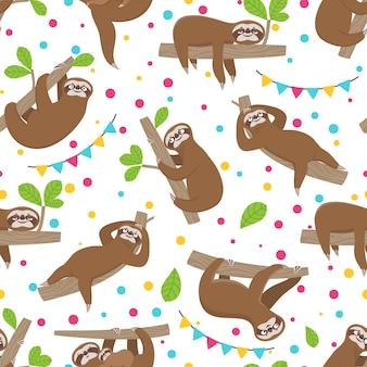 ナマケモノのシームレスなパターン。ジャングルの夏の森のブランチでリラックスしたナマケモノ。愛らしい少女のテクスチャ