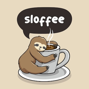 Sloth sleep at cup of coffee