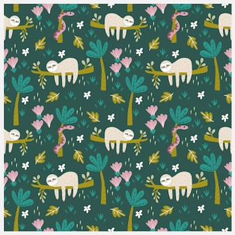 Sloth and snake in tropical jungle seamless pattern