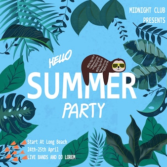 Sloth in tropical jungle summer party banner