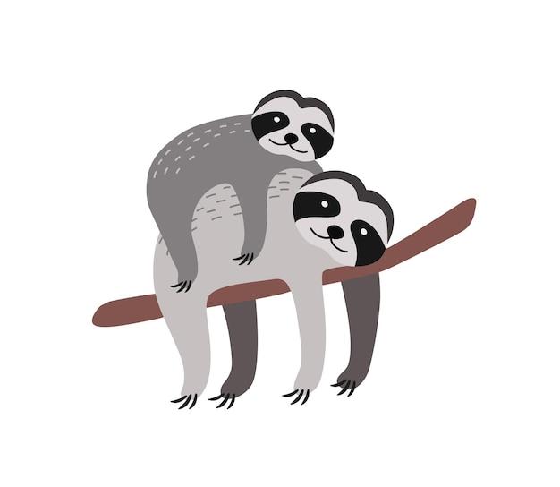 白い背景で隔離の木の枝で休んで赤ちゃんとナマケモノ。かわいい面白い野生の樹上動物の家族。幼い親。熱帯の動物相。フラット漫画カラフルなベクトルイラスト。