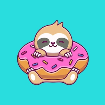 Sloth with doughnut balloon cartoon icon illustration. animal food icon concept isolated premium . flat cartoon style