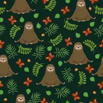 Sloths do yoga. seamless pattern.