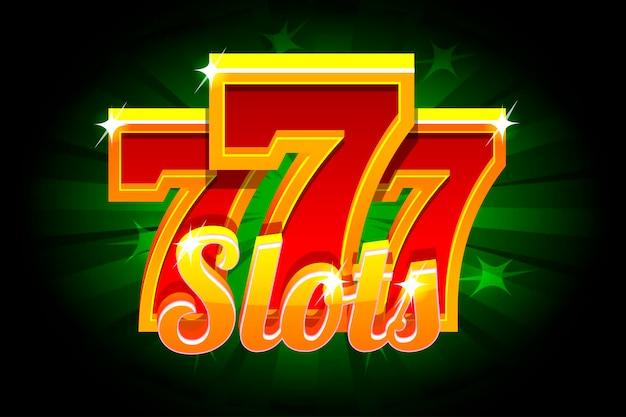 緑の背景にスロット777バナーカジノ。カジノ、スロット、ルーレット、ゲームuiのベクトルイラスト。別々のレイヤー上のアイコンとテキスト。