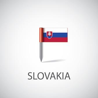슬로바키아 플래그 핀, 밝은 배경에 고립