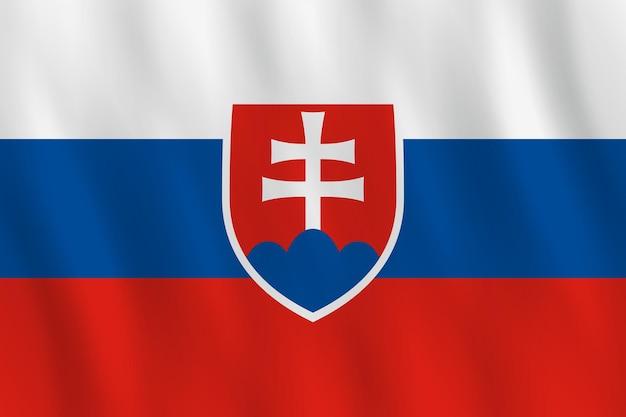 물결치는 효과가 있는 슬로바키아 국기, 공식 비율.