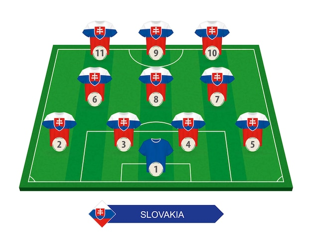 유럽 축구 대회를위한 축구장에 슬로바키아 축구 팀 라인업