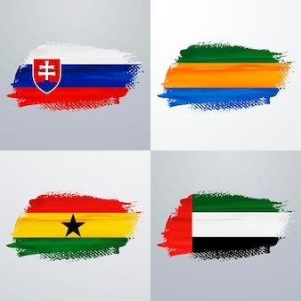 スロバキア、ガボン、ガーナ、アラブ首長国連邦の旗パック