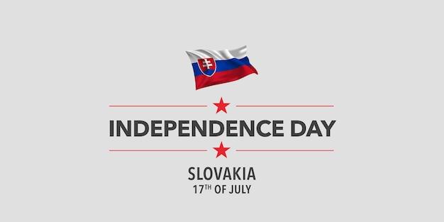 슬로바키아 행복 한 독립 기념일 인사말 카드 배너 그림