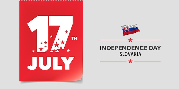 Slovakia happy independence day greeting card, banner, vector illustration. slovakian national day 17th of july background with elements of flag in a creative horizontal design