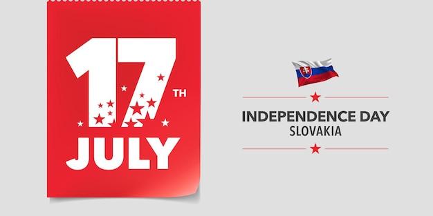 スロバキアの幸せな独立記念日のグリーティングカード、バナー、ベクトルイラスト。創造的な水平方向のデザインの旗の要素を持つ7月17日のスロバキア建国記念日