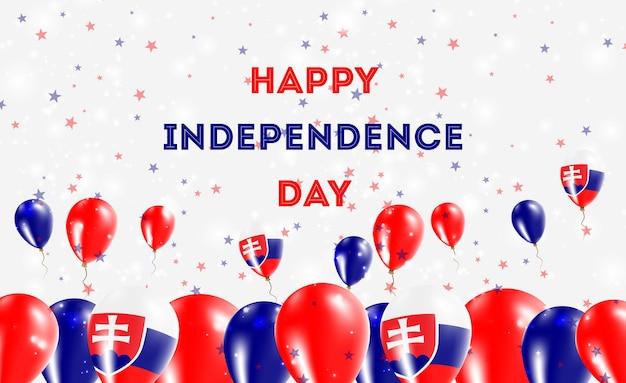 슬로바키아 독립 기념일 애국 디자인. 슬로바키아 국가 색의 풍선. 행복 한 독립 기념일 벡터 인사말 카드입니다.
