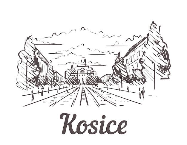 スロバキア、コシツェ手描きの風景