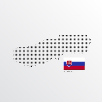 Slovakia map design with flag and light background vector