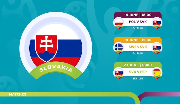 スロバキア代表チームのスケジュールは、2020年のサッカー選手権の最終段階で試合を行います。サッカー2020の試合のイラスト。
