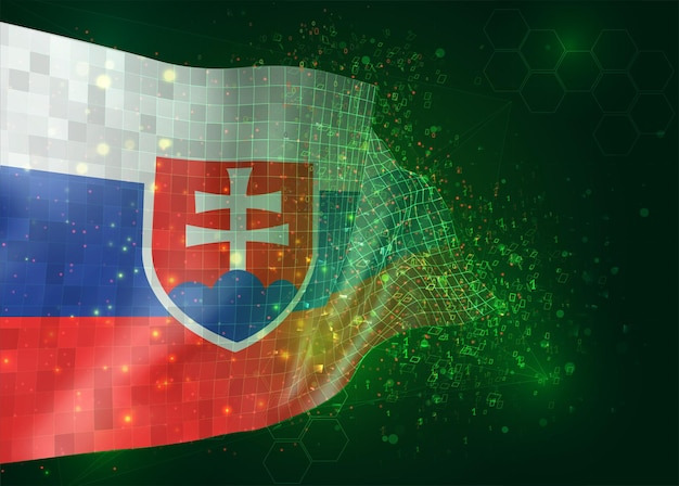 Slovakia on vector 3d flag on green background with polygons and data numbers