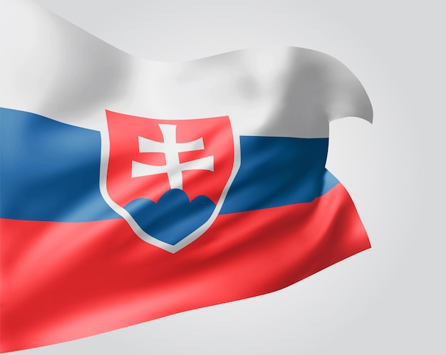 슬로바키아, 파도와 굴곡이 있는 벡터 깃발은 흰색 배경에 바람에 흔들립니다.