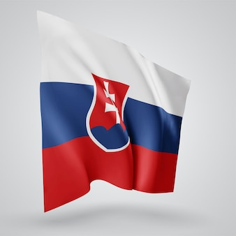 Slovakia, vector flag with waves and bends waving in the wind on a white background.