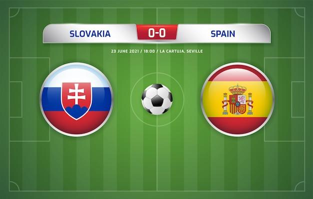슬로바키아 vs 스페인 스코어보드 방송 축구 토너먼트 2020 e조