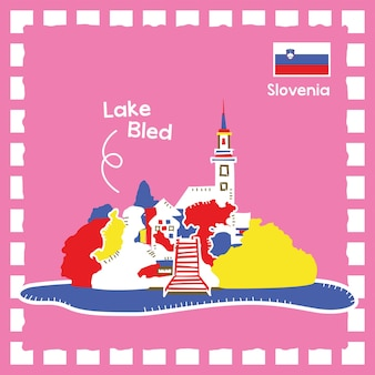 귀여운 스탬프 디자인이 있는 슬로베니아 레이크 블렌더 랜드마크 그림
