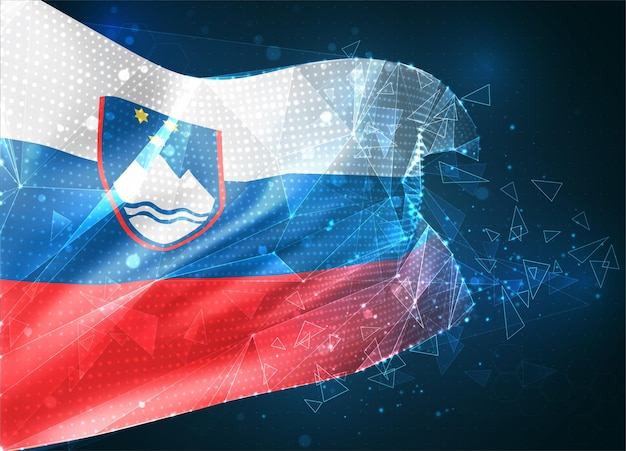 슬로베니아, 벡터 플래그, 파란색 배경에 삼각형 다각형에서 가상 추상 3d 개체