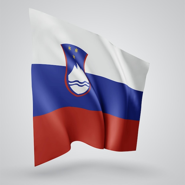 Slovenia, vector flag with waves and bends waving in the wind on a white background.