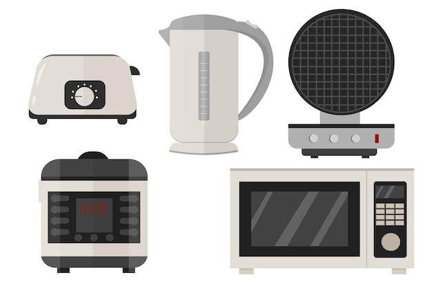 Slow cooker electric kettle toaster microwave waffle iron set in vector design