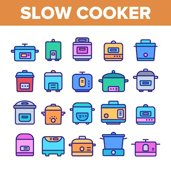 Slow cooker elements icons set