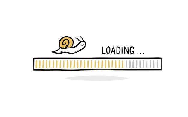 カタツムリと遅いインターネット読み込みバー落書き。低速ロードバーのコンセプト。手描きの線スケッチスタイル。孤立したベクトル図。