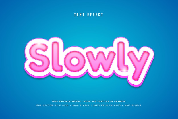 Slowly 3d text effect on blue background