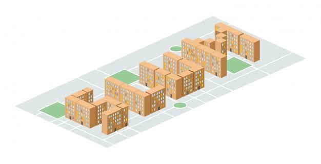 빈민가 지구. 아이소 메트릭 도시 건물 집들 사이에서 마당. 교외의 가난한 지구