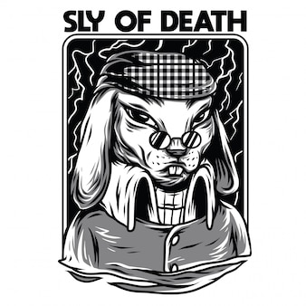 Sly of death black and white illustration