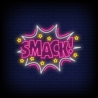 Smack neon signs style text vector