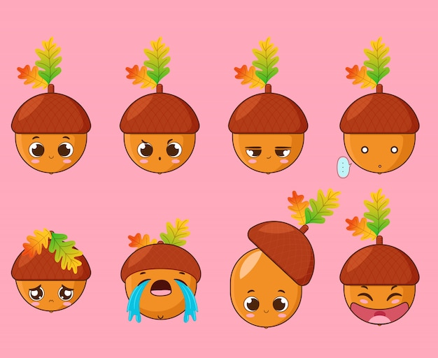 Small acorn with different facial expressions