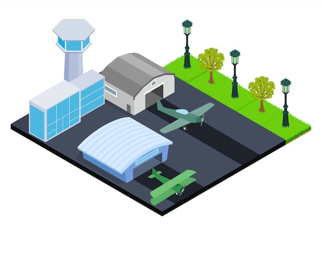Small airport concept banner, isometric style