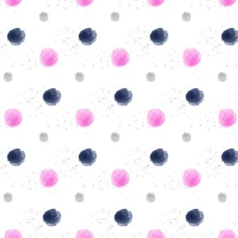 大小の水彩ドッティシームレスパターン