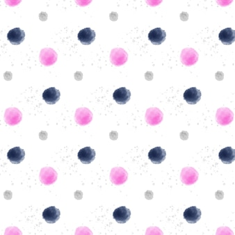 Small and big watercolor dotty seamless pattern