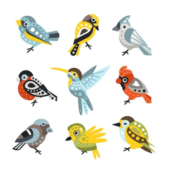 Small bird species, sparrows and hummingbirds set of decorative artistic design wild animals vector illustrations