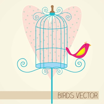 Small bird with blue cage and heart background