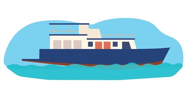 Small blue boat sailing on the sea
