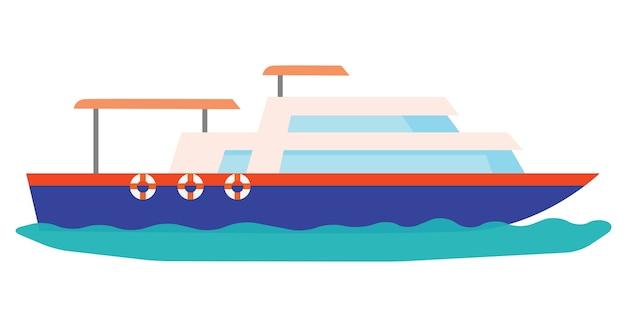 Маленькая голубая роскошная яхта, парусная по морю