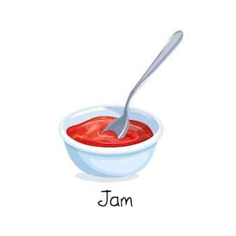 Маленькая миска с вареньем из красных ягод, концепция питания.