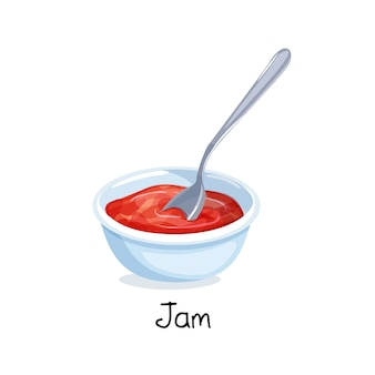 Small bowl of red berry jam, food concept.