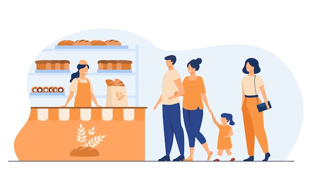 小さなパン屋のインテリアフラットベクトルイラスト。漫画の女性と男性が店でおやつを購入し、並んで立っています。ビジネス、食品、ベーカリーストアのコンセプト