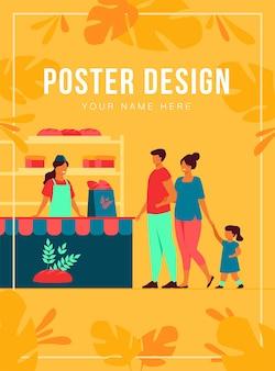 Небольшой магазин хлеба интерьер плоский векторные иллюстрации. мультфильм женщина и мужчина покупают закуски в магазине и стоят в очереди