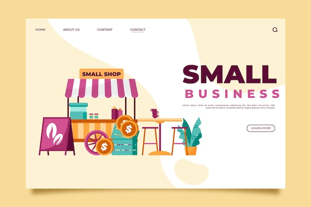 Small business landing page concept