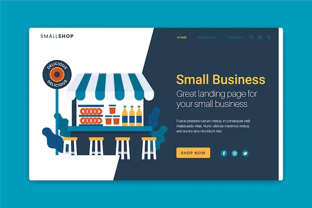 Small business landing page
